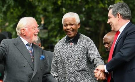 Richard Attenborough, Nelson Mandela en Gordon Brown