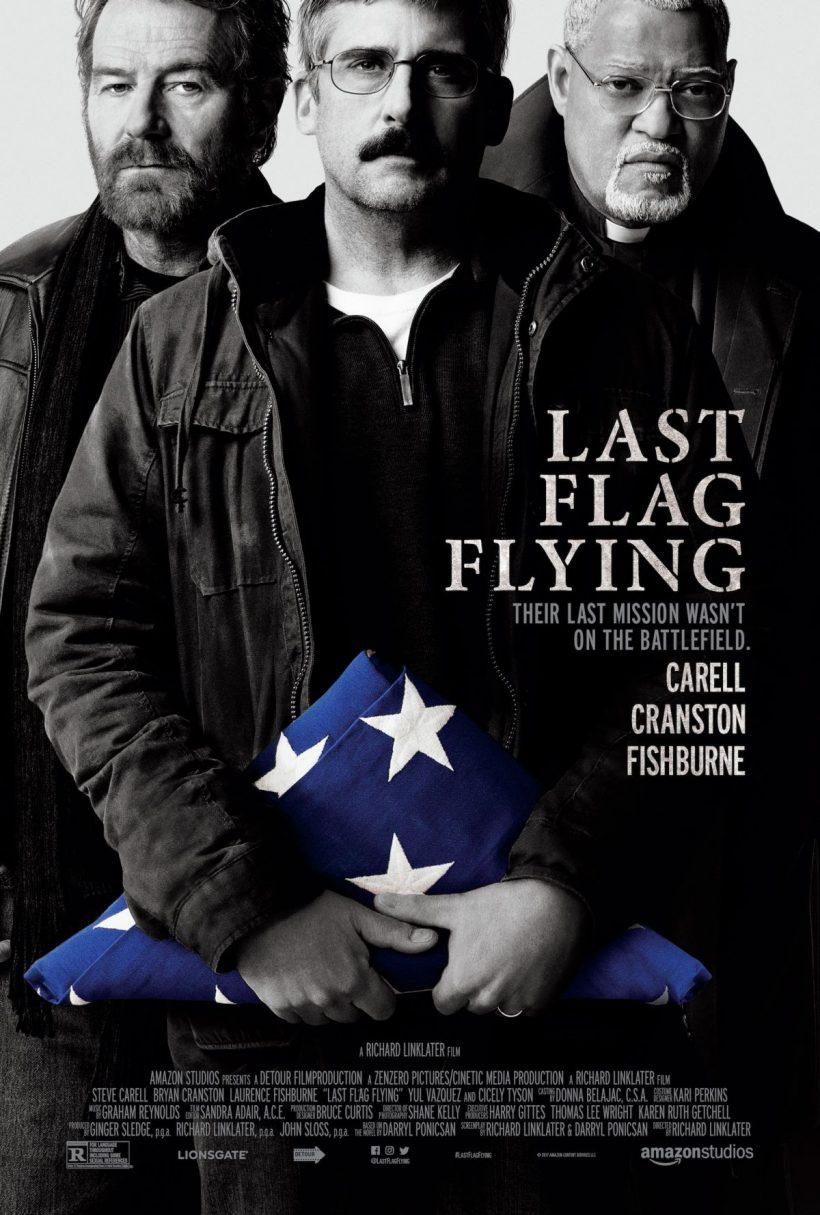 Carell, Cranston en Fishburne op Last Flag Flying poster
