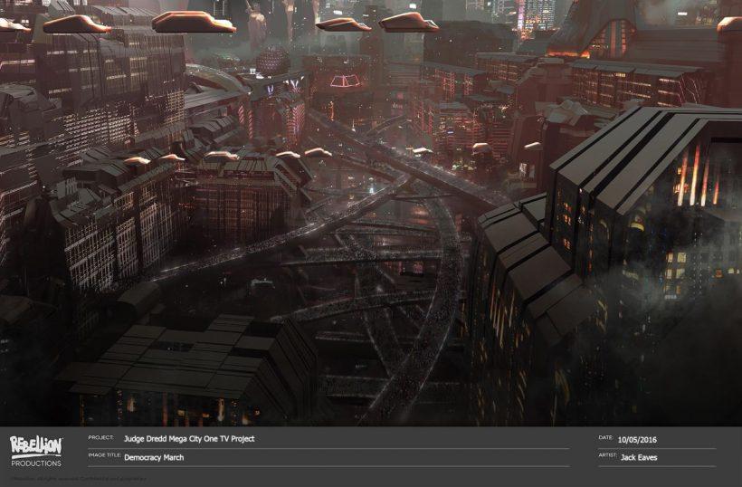 Concept Art voor Judge Dredd serie. Keert Karl Urban terug?