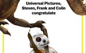 Jurassic World feliciteert Star Wars: The Force Awakens