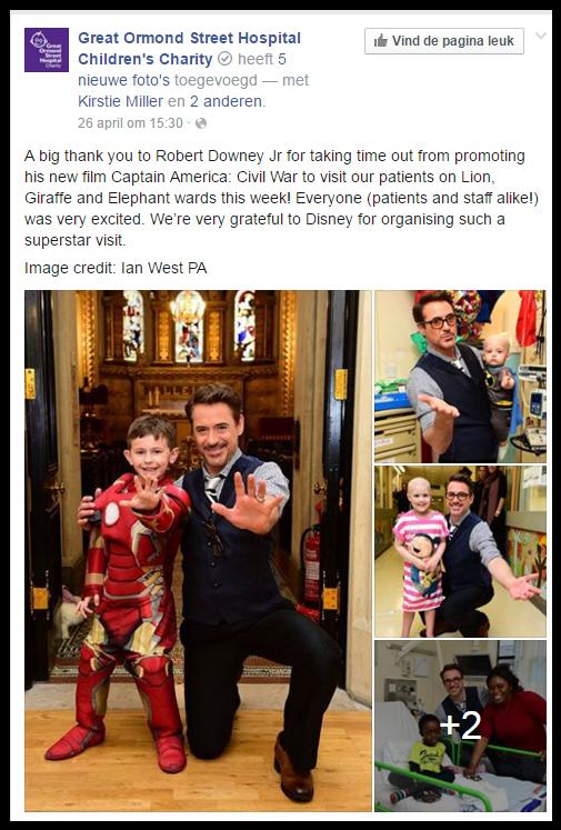 Robert Downey Jr. bezoekt kinderziekenhuis filmhoek
