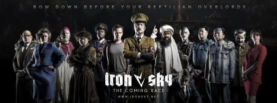 Hitler op eenT-Rex op poster Iron Sky 2: The Coming Race