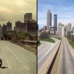 Originele The Walking Dead seizoen 1 poster wordt gereproduceerd op lege Atlanta Highway